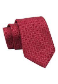 Krawat Męski, Czerwony w Drobny Geometryczny Wzór, Elegancki, 7 cm -Angelo di Monti. Kolor: czerwony. Materiał: tkanina. Wzór: geometria. Styl: elegancki