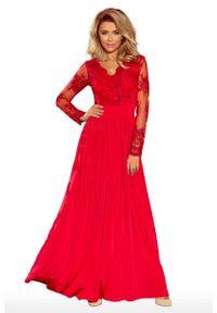 Czerwona sukienka Numoco maxi, wizytowa