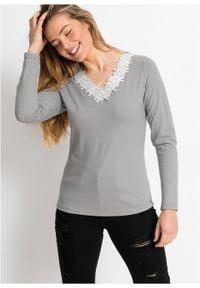 Shirt, długi rękaw bonprix szaro-biały. Kolor: szary. Długość rękawa: długi rękaw. Długość: długie