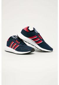 Niebieskie sneakersy adidas Originals do biegania, z okrągłym noskiem, z cholewką, na sznurówki