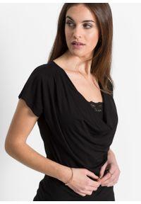 Czarna bluzka bonprix z dekoltem woda, w koronkowe wzory