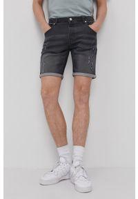 Brave Soul - Szorty jeansowe. Okazja: na co dzień. Kolor: szary. Materiał: jeans. Styl: casual