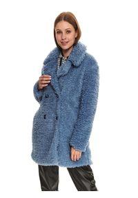 TOP SECRET - Dwurzędowy płaszcz z baranka. Kolor: niebieski. Materiał: dzianina. Długość rękawa: długi rękaw. Długość: długie. Sezon: zima. Styl: klasyczny, elegancki