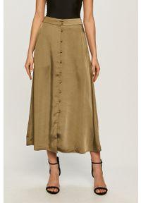 Samsoe & Samsoe - Samsoe Samsoe - Spódnica. Stan: podwyższony. Kolor: zielony. Materiał: tkanina. Wzór: gładki #1