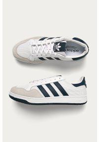 Białe sneakersy adidas Originals na sznurówki, z cholewką, z okrągłym noskiem #5