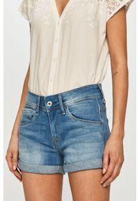 Pepe Jeans - Szorty jeansowe Siouxie. Okazja: na co dzień. Kolor: niebieski. Materiał: denim. Styl: casual