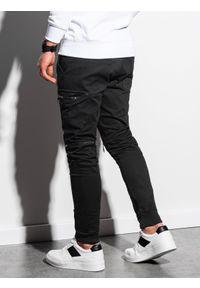 Ombre Clothing - Spodnie męskie joggery P997 - granatowe - XXL. Kolor: niebieski. Materiał: elastan, bawełna