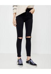 Czarne jeansy ONETEASPOON z aplikacjami, z podwyższonym stanem, klasyczne