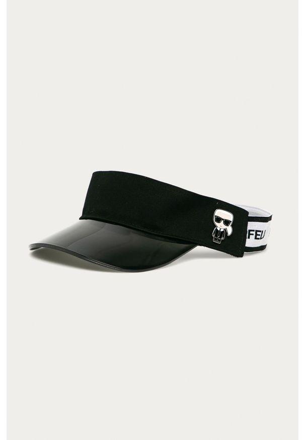 Czarna czapka z daszkiem Karl Lagerfeld z nadrukiem