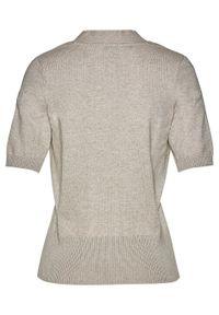 Sweter rozpinany z ozdobnym przewiązaniem bonprix Sweter roz z przew beż-sz. Kolor: szary