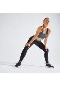 Czarne legginsy do fitnessu DOMYOS