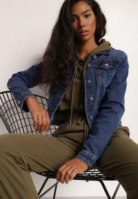 Renee - Granatowa Kurtka Jeansowa Anitias. Kolor: niebieski. Materiał: jeans. Długość rękawa: długi rękaw. Długość: długie. Styl: klasyczny