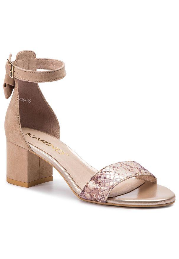 Beżowe sandały Karino na obcasie, na średnim obcasie