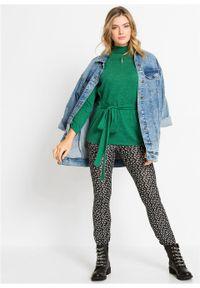 Sweter bonprix zielony melanż. Typ kołnierza: golf. Kolor: zielony. Wzór: melanż