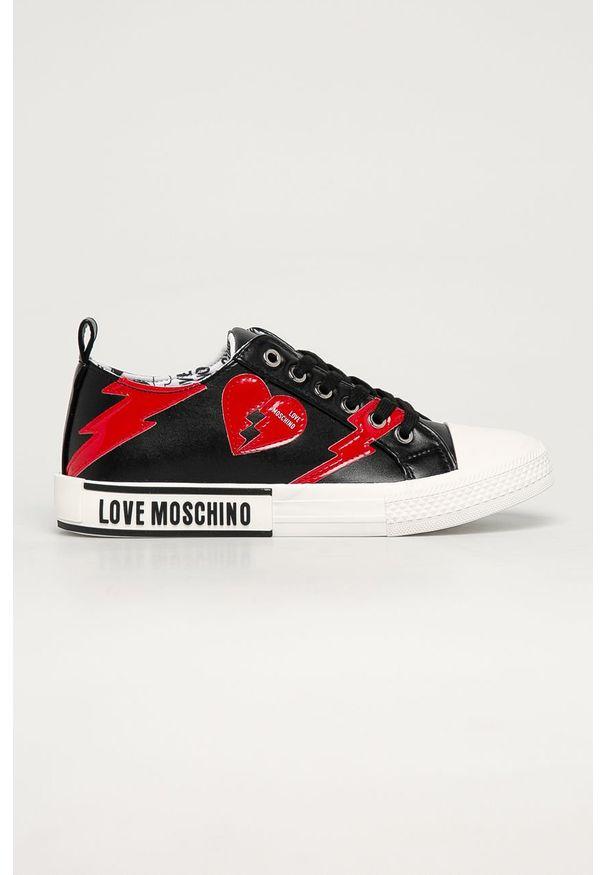 Czarne tenisówki Love Moschino z cholewką, z okrągłym noskiem, na sznurówki