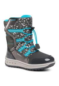 Szare buty zimowe Geox z cholewką, na spacer