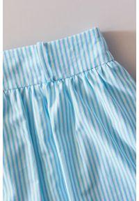 Marie Zélie - Spódnica Helle w turkusowe prążki. Kolor: turkusowy. Materiał: bawełna, skóra, materiał. Wzór: prążki