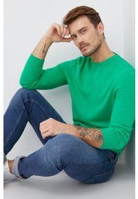 United Colors of Benetton - Sweter wełniany. Okazja: na co dzień. Kolor: zielony. Materiał: wełna. Długość rękawa: długi rękaw. Długość: długie. Styl: casual