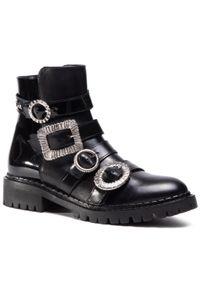 Czarne buty trekkingowe Eva Minge z aplikacjami, z cholewką