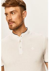 Biała koszulka polo Tom Tailor Denim z aplikacjami, polo