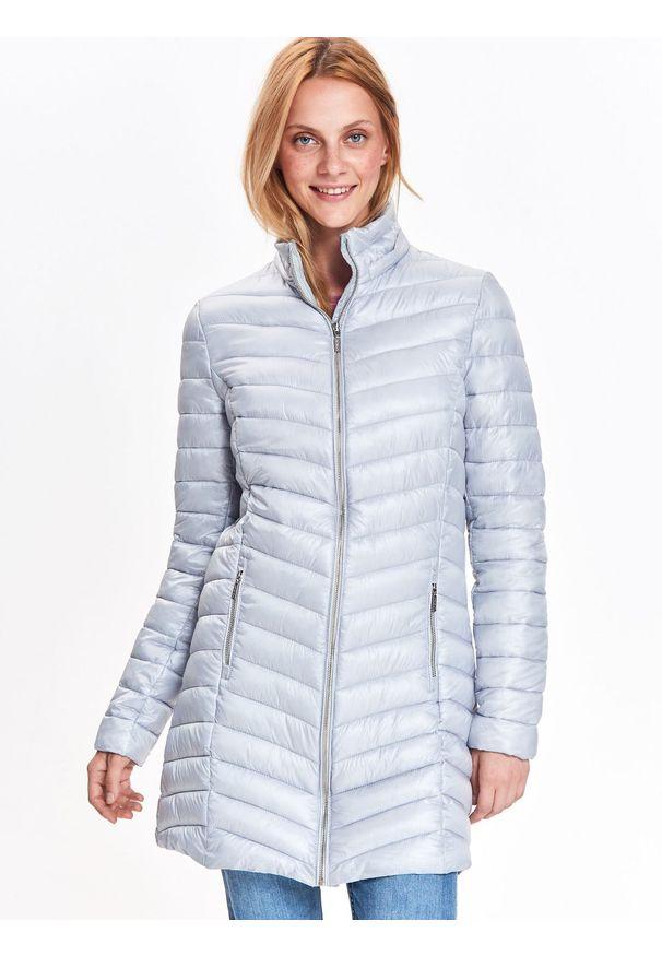 Szara kurtka TOP SECRET na zimę, w kolorowe wzory