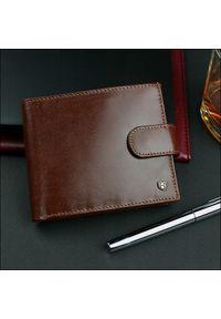 Brązowy portfel ROVICKY w kolorowe wzory