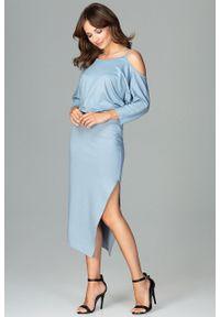 e-margeritka - Sukienka asymetryczna z kimonowym rękawem niebieska - l. Kolor: niebieski. Materiał: poliester, wiskoza, materiał, elastan. Sezon: jesień. Typ sukienki: asymetryczne. Długość: midi