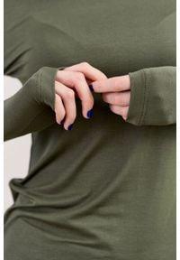 Marie Zélie - Golf Frida oliwkowy – mikromodal. Typ kołnierza: golf. Kolor: oliwkowy. Materiał: bawełna, dzianina, materiał, elastan, tkanina, włókno