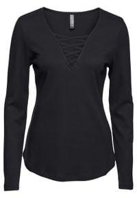 Shirt ze sznurowaniem bonprix czarny. Kolor: czarny. Długość rękawa: długi rękaw. Długość: długie