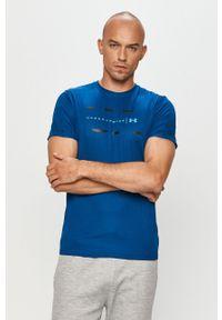 Turkusowy t-shirt Under Armour na co dzień, z nadrukiem, casualowy