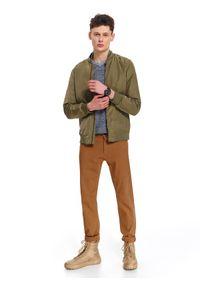 Brązowa kurtka TOP SECRET w kolorowe wzory, na co dzień, klasyczna