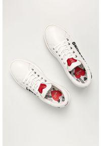Białe buty sportowe Love Moschino z cholewką, na średnim obcasie, na obcasie, z okrągłym noskiem