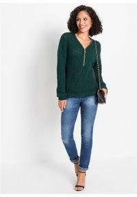 Sweter dzianinowy z zamkiem bonprix głęboki zielony. Kolor: zielony. Materiał: dzianina