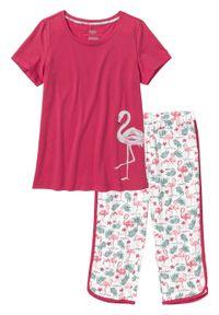 Piżama ze spodniami 3/4 bonprix czerwień granatu z nadrukiem
