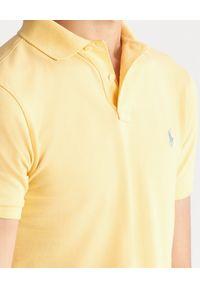 Ralph Lauren - RALPH LAUREN - Koszulka polo Slim Fit. Typ kołnierza: polo. Kolor: żółty. Materiał: prążkowany, bawełna, materiał. Wzór: haft