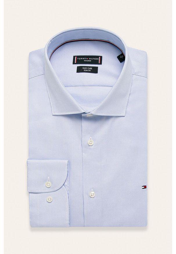Niebieska koszula Tommy Hilfiger Tailored elegancka, z włoskim kołnierzykiem