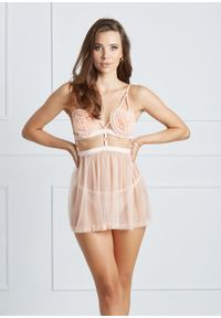 Saintmiss - Dwuelementowa koszula nocna // Laure - Uniwersalny, Różowy. Kolor: różowy. Materiał: tiul, koronka, materiał. Długość: długie. Wzór: koronka, paski