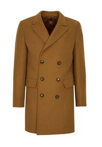 TOP SECRET - Klasyczny płaszcz dwurzędowy z wełnianej tkaniny. Materiał: tkanina, wełna. Sezon: zima. Styl: klasyczny #4
