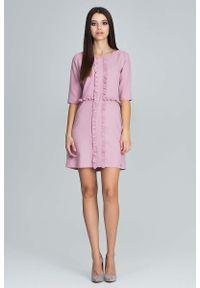 Różowa sukienka z falbanami Figl mini, z falbankami, elegancka