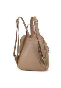 Wittchen - Damski plecak skórzany minimalistyczny. Kolor: beżowy. Materiał: skóra. Styl: elegancki