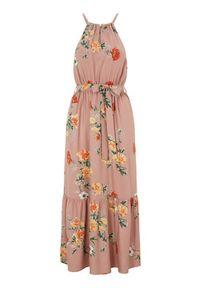 Różowa długa sukienka Happy Holly z aplikacjami