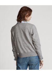 Ralph Lauren - RALPH LAUREN - Szara bluza z misiem. Typ kołnierza: polo. Kolor: szary. Materiał: prążkowany, jeans, materiał. Wzór: nadruk