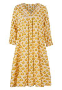 Sukienka tunikowa z dekoltem w serek i koronkową wstawką bonprix żółty curry - beżowo-szary z nadrukiem. Typ kołnierza: dekolt w serek. Kolor: żółty. Materiał: koronka. Wzór: nadruk