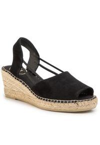 Czarne sandały Toni Pons na średnim obcasie, casualowe