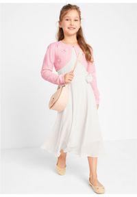 Sukienka na uroczyste okazje bonprix biel wełny. Kolor: biały. Materiał: wełna #4