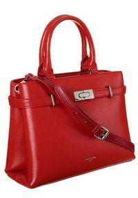 DAVID JONES - Torebka damska czerwona David Jones CM6043 RED. Kolor: czerwony. Materiał: skórzane. Styl: elegancki