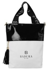 Shopper damski biało-czarny Badura TD_209BIA/CZ_CD. Kolor: czarny, biały, wielokolorowy. Materiał: skórzane