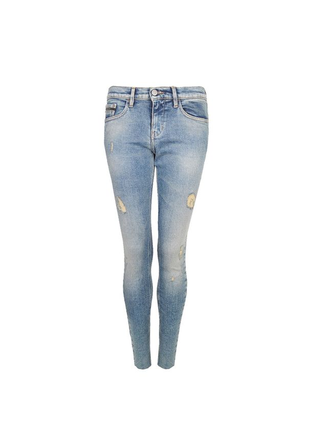 "Calvin Klein Jeansy ""Skinny"". Materiał: jeans. Wzór: aplikacja"