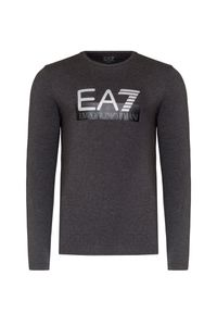 Szary t-shirt EA7 Emporio Armani z okrągłym kołnierzem, z nadrukiem, długi, z długim rękawem
