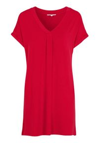 Czerwona tunika Cellbes z krótkim rękawem, krótka, z dekoltem w serek